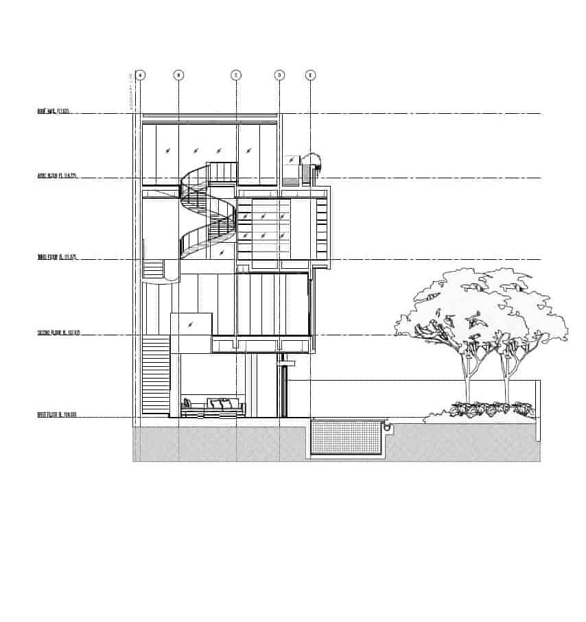 This is the side view of the other side elevation showcasing the various structures like the staircases.