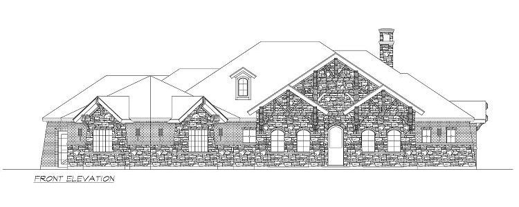 Front elevation sketch of the single-story 4-bedroom Chandlers Lake craftsman home.
