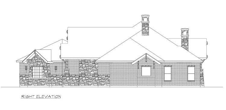 Right elevation sketch of the single-story 4-bedroom Chandlers Lake craftsman home.