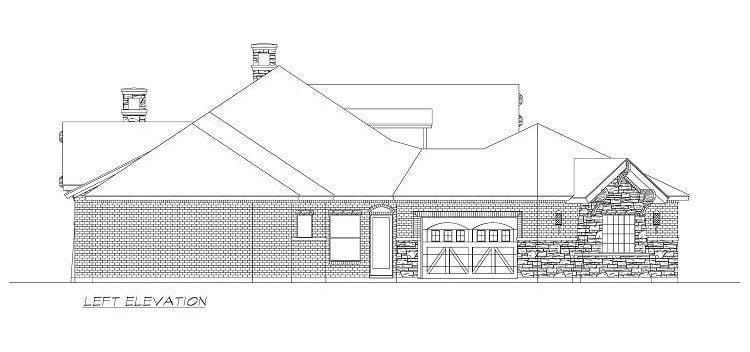 Left elevation sketch of the single-story 4-bedroom Chandlers Lake craftsman home.