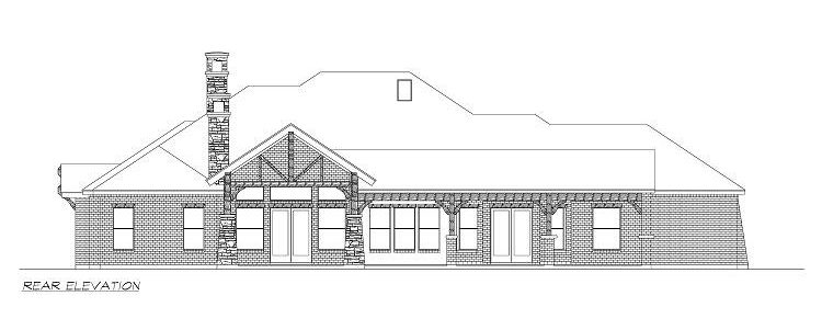 Rear elevation sketch of the single-story 4-bedroom Chandlers Lake craftsman home.