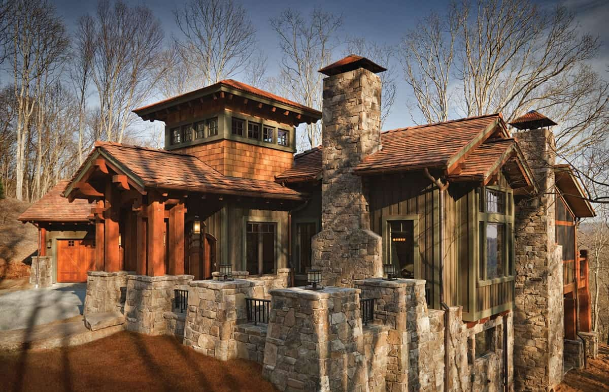 Single-Story 4-Bedroom Craftsman Home with Light-Filled Tower and Courtyard