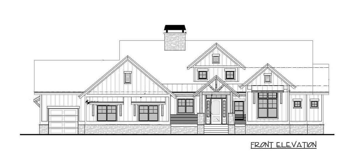 Front elevation sketch of the single-story 4-bedroom mountain craftsman home.