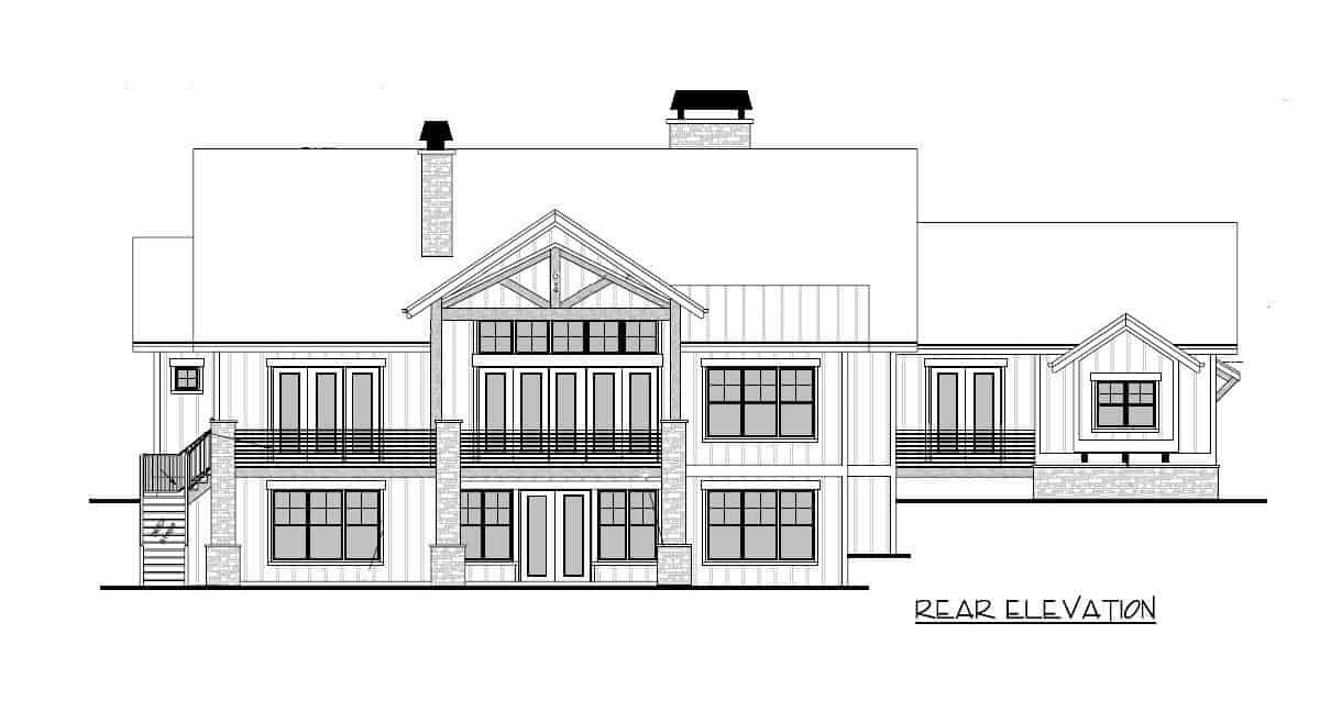 Rear elevation sketch of the single-story 4-bedroom mountain craftsman home.