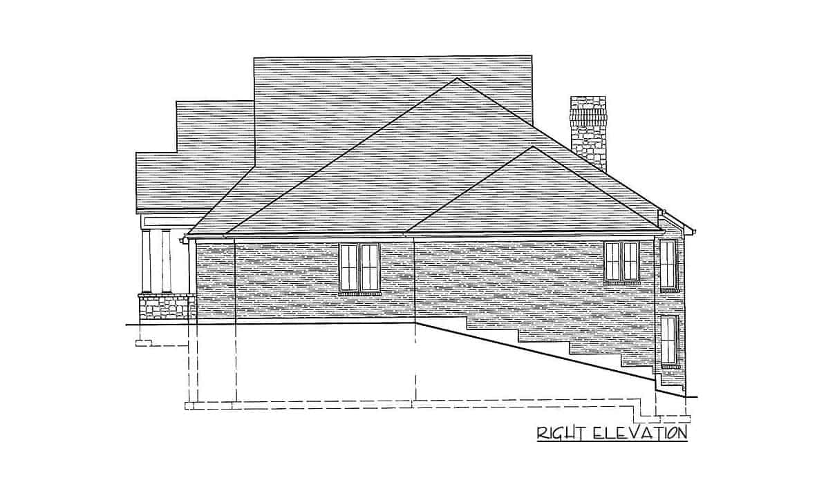 Right elevation sketch of the single-story 5-bedroom traditional home.