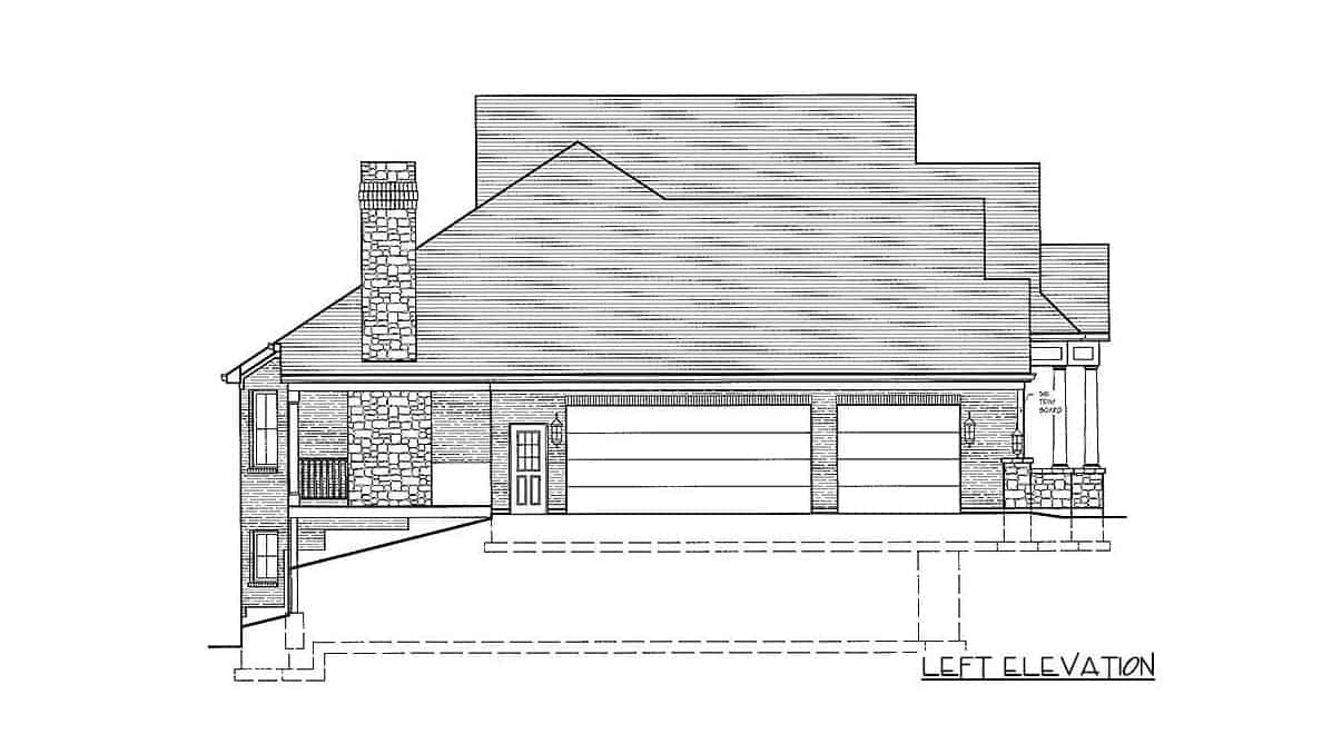 Left elevation sketch of the single-story 5-bedroom traditional home.