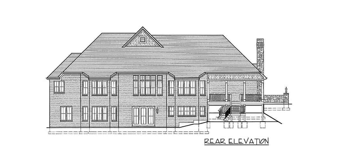 Rear elevation sketch of the single-story 5-bedroom traditional home.