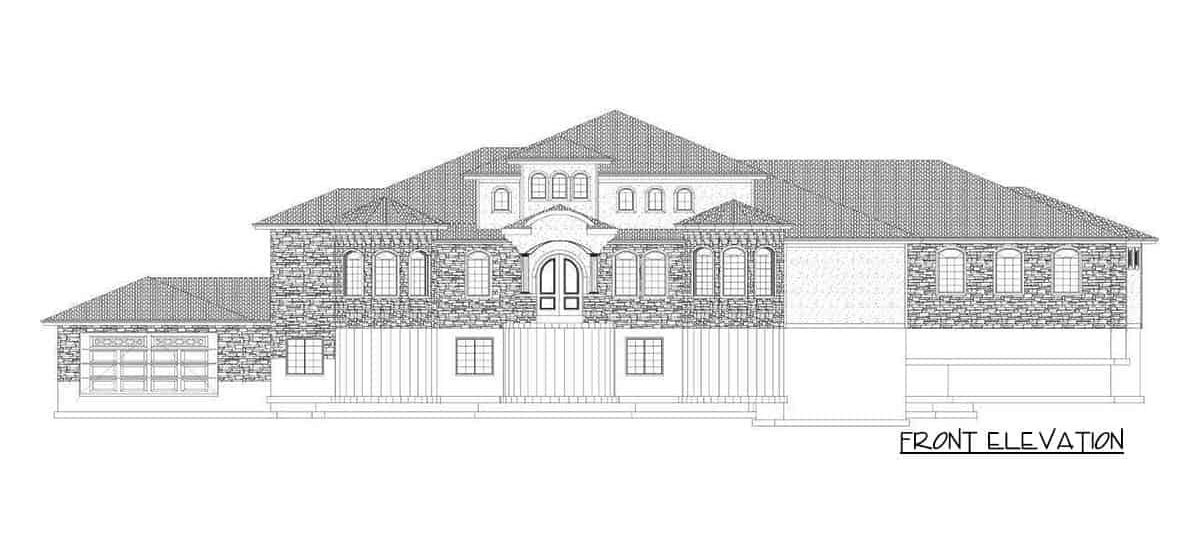 Front elevation sketch of the single-story 6-bedroom luxury Spanish home.