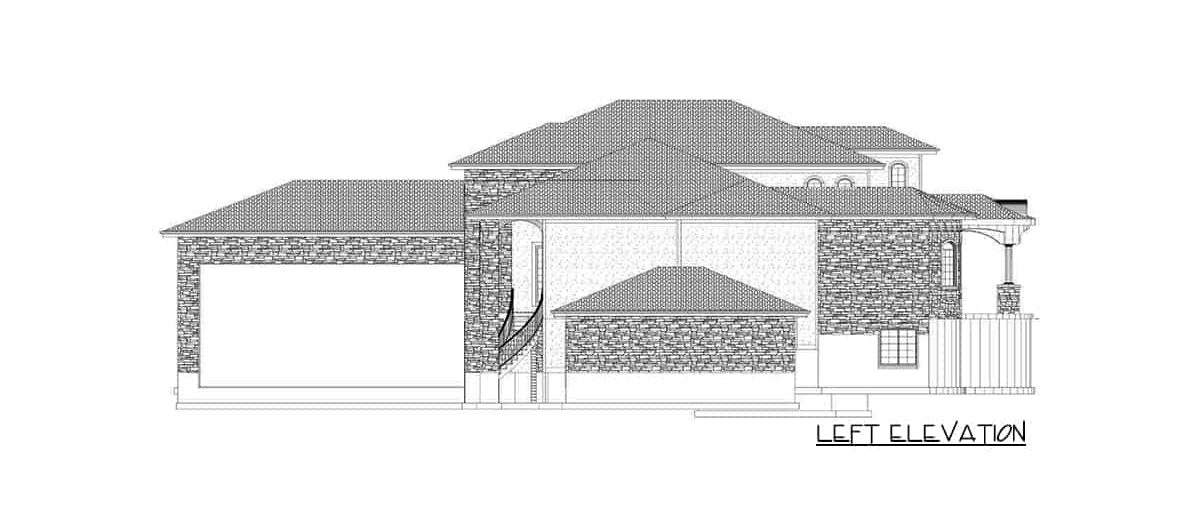 Left elevation sketch of the single-story 6-bedroom luxury Spanish home.