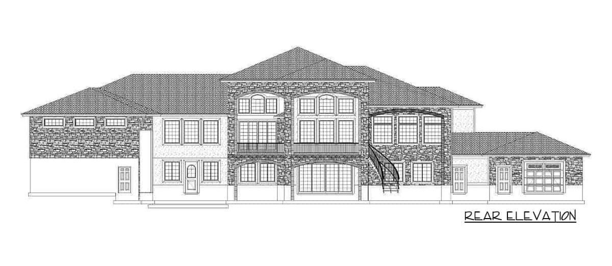 Rear elevation sketch of the single-story 6-bedroom luxury Spanish home.