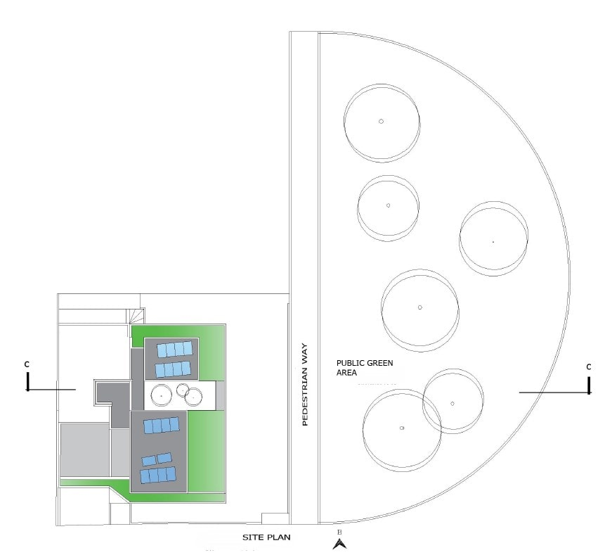 This is an illustration of the site plan showing the property of the house in relation to the surrounding area.