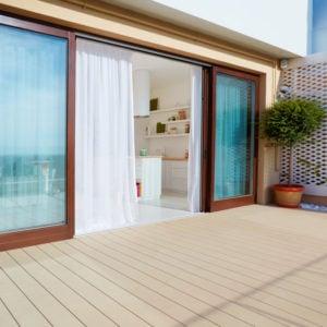 Sliding doors onto a deck