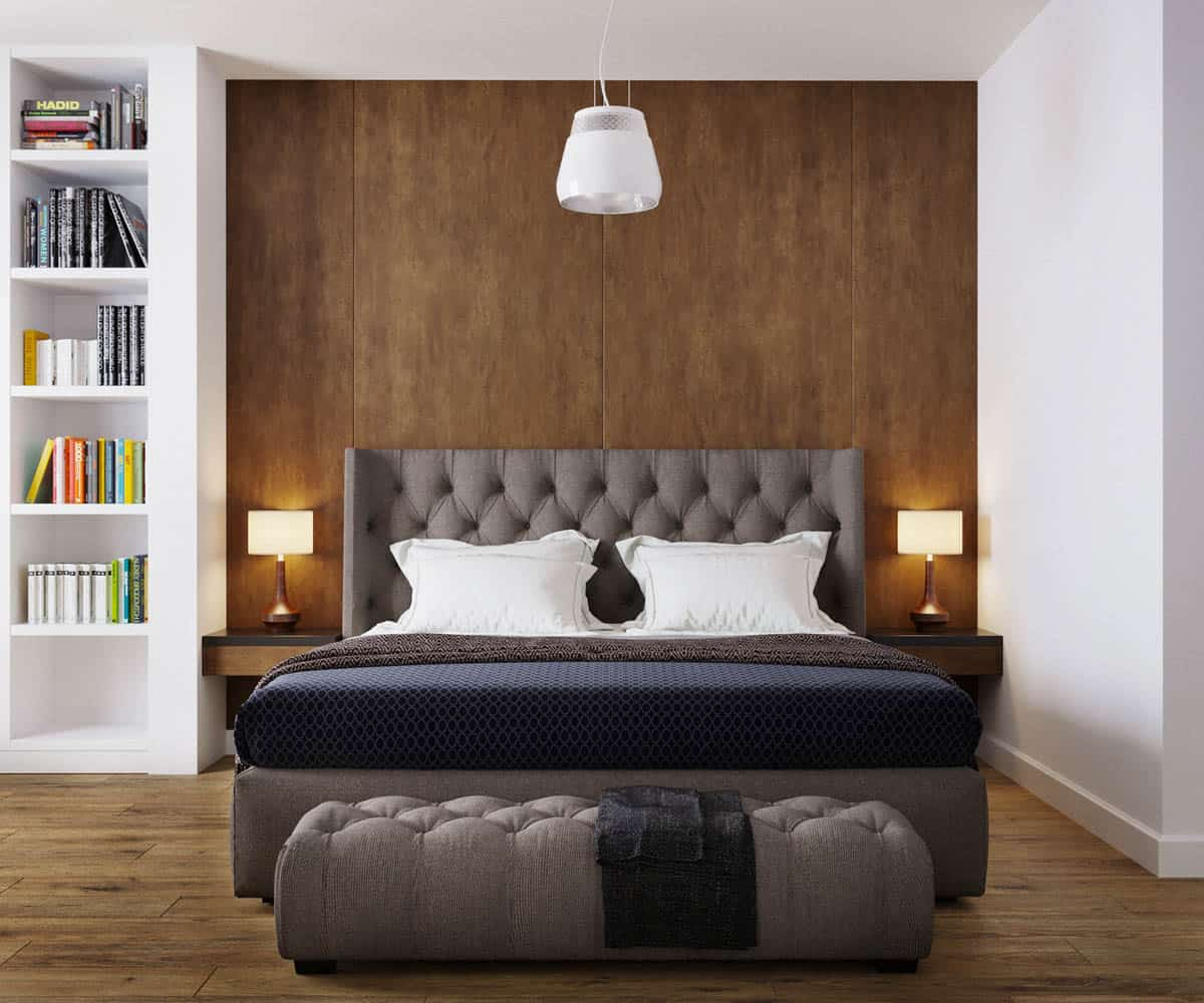 The primary bedroom has a large bed with tufted and cushioned headboard complemented by the wooden wall behind it.