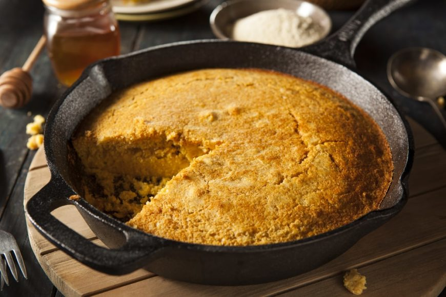 Cornbread cooked in a skillet.