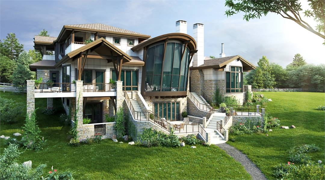 Rear exterior view with a wrap-around balcony, massive windows, and open patios complemented with winding staircases.