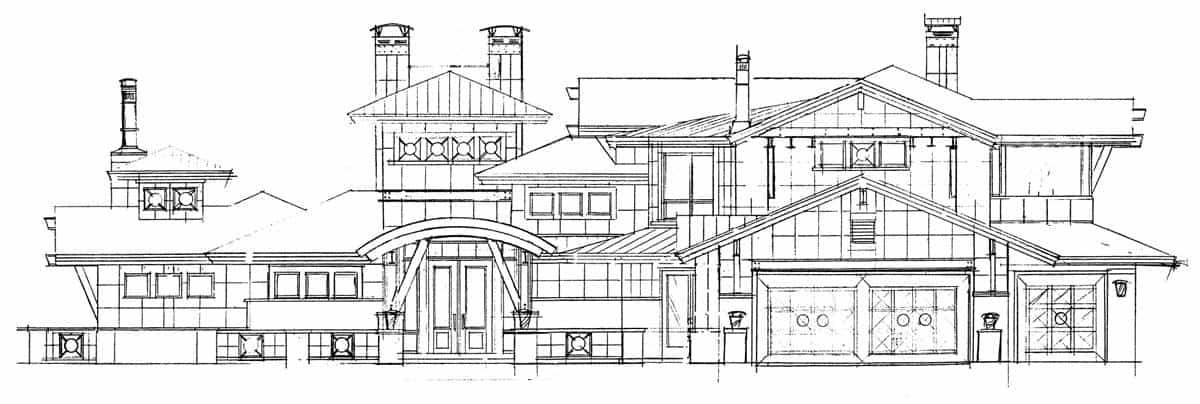 Front elevation sketch of the three-story 4-bedroom Tamano contemporary style home.