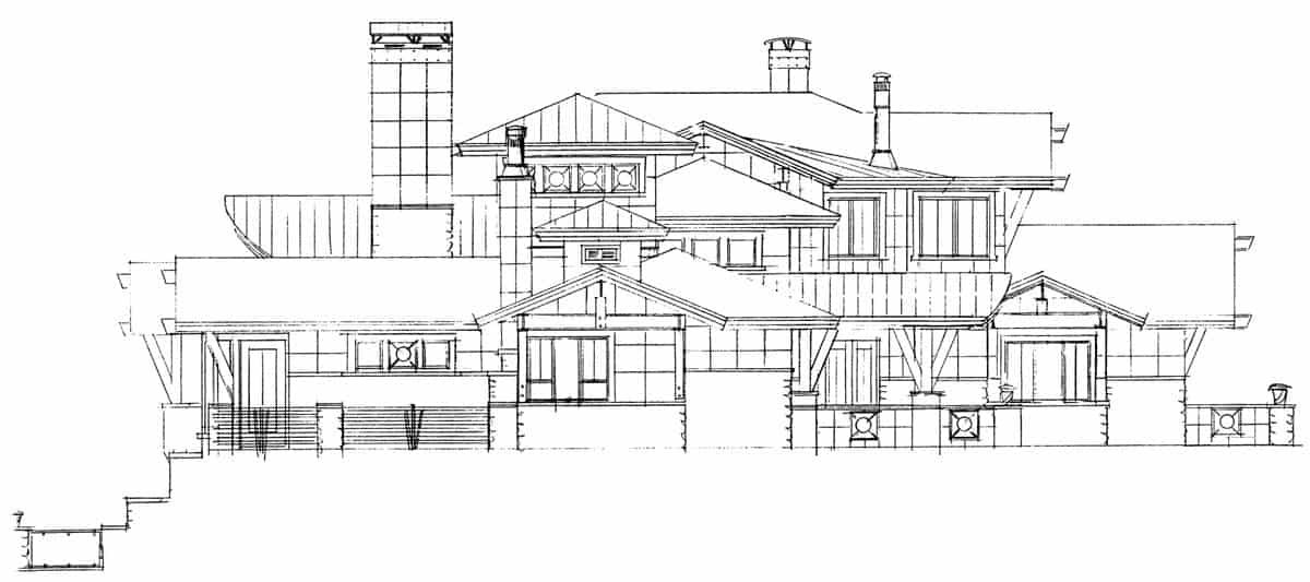 Right elevation sketch of the three-story 4-bedroom Tamano contemporary style home.