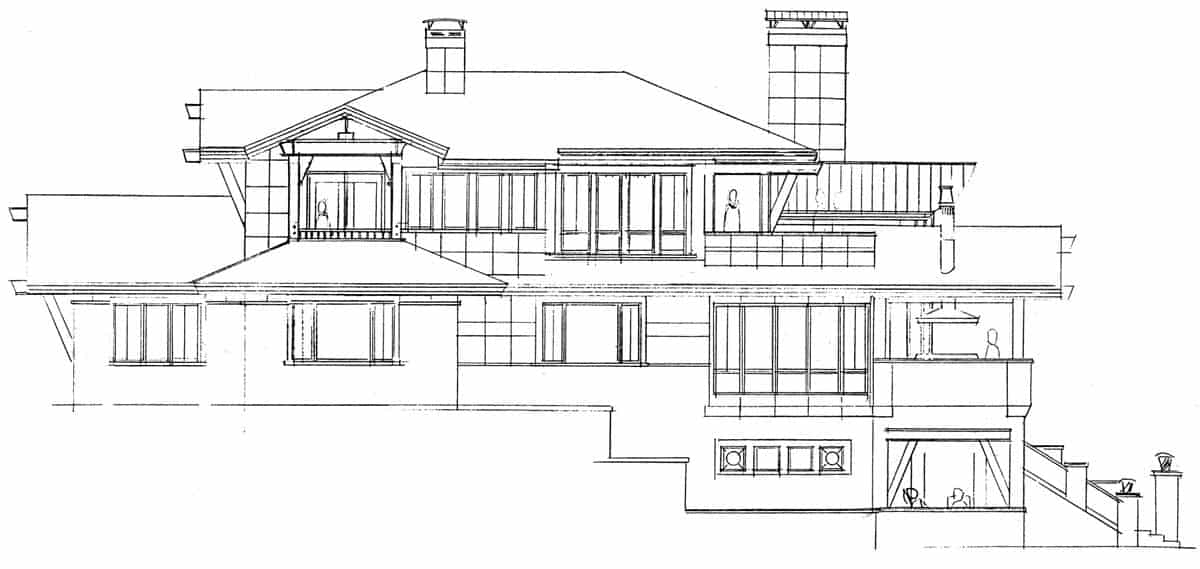 Left elevation sketch of the three-story 4-bedroom Tamano contemporary style home.