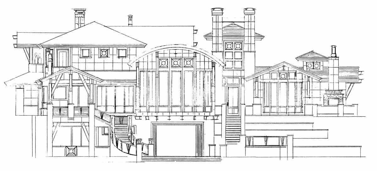 Rear elevation sketch of the three-story 4-bedroom Tamano contemporary style home.