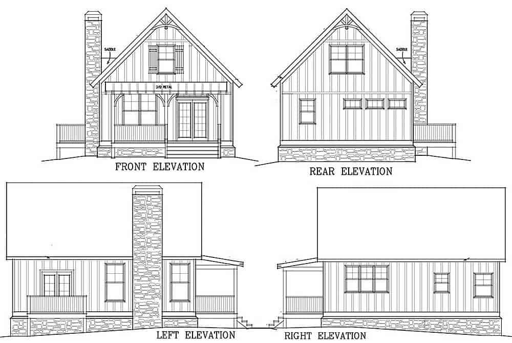 Front, right, left, and rear elevation sketch of the two-story 2-bedroom cabin retreat.