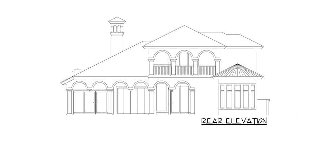 Rear elevation sketch of the two-story 3-bedroom Mediterranean home.