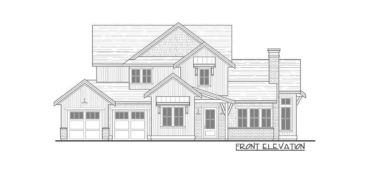 Front elevation sketch of the two-story 3-bedroom modern farmhouse.