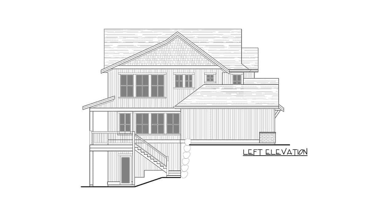Left elevation sketch of the two-story 3-bedroom modern farmhouse.Left elevation sketch of the two-story 3-bedroom modern farmhouse.