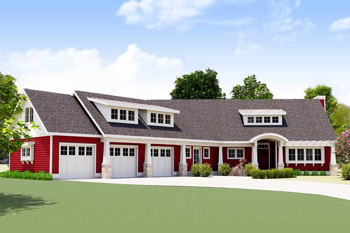 Front rendering of the two-story 3-bedroom red cottage.