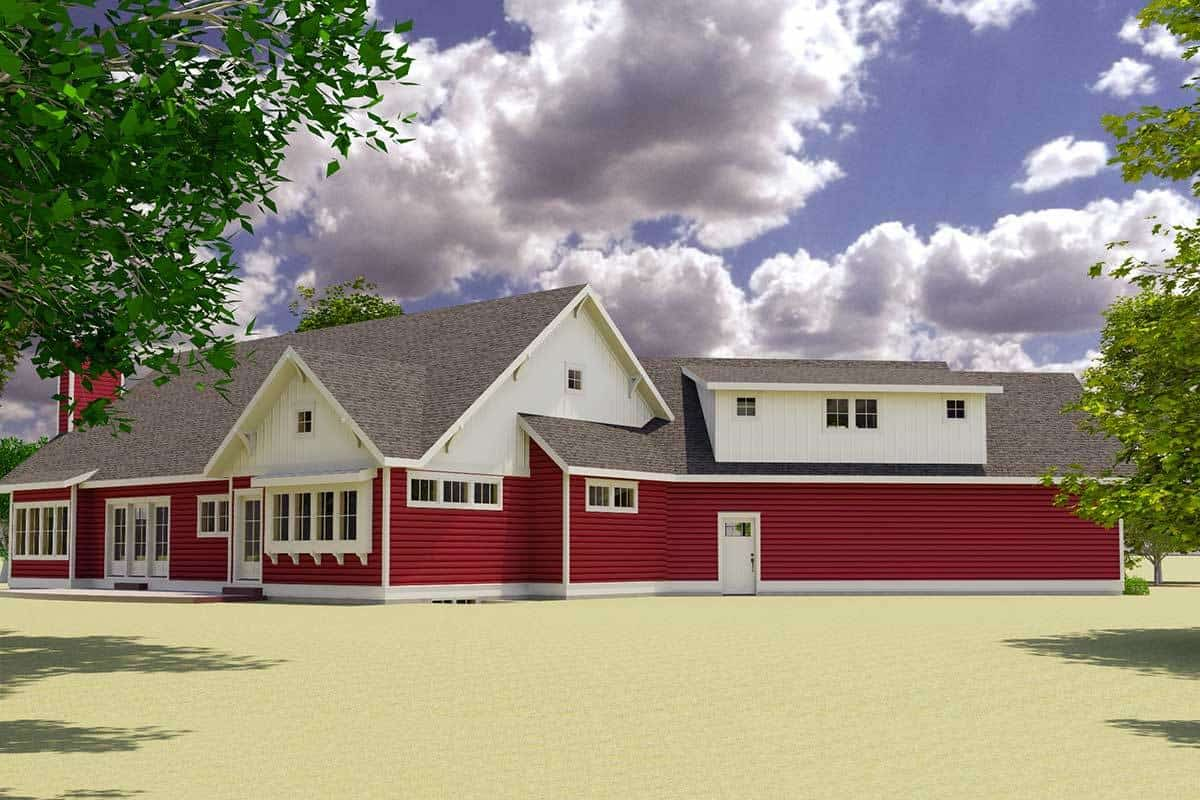 Side rendering of the two-story 3-bedroom red cottage.