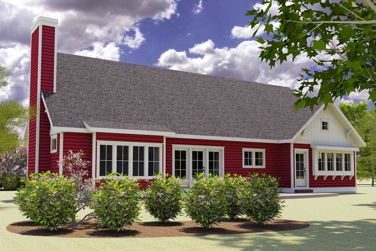 Rear rendering of the two-story 3-bedroom red cottage.