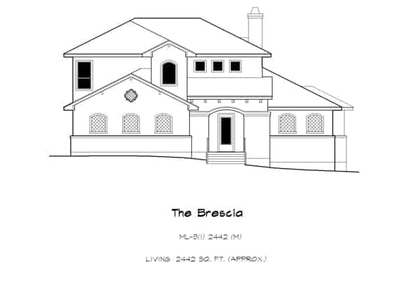 Front elevation sketch of the two-story 3-bedroom French country home.