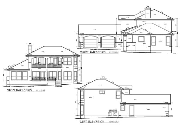 Rear, right, and left elevation sketch of the two-story 3-bedroom French country home.