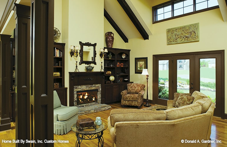 Clerestory windows on the right side flood the living room with abundant natural light.