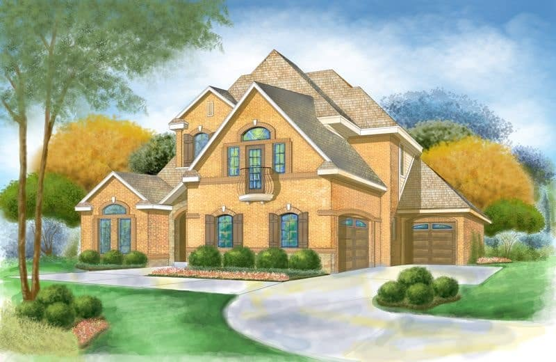 Front perspective sketch of the two-story 4-bedroom Broham Canyon traditional home.
