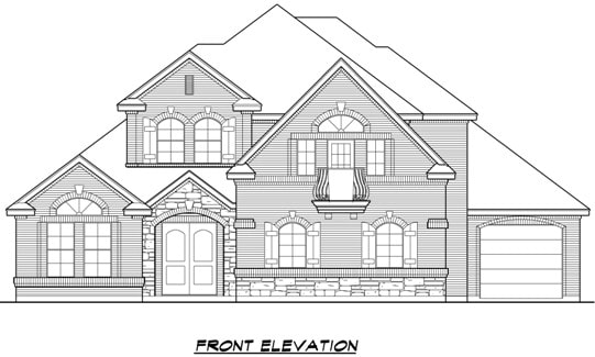 Front elevation sketch of the two-story 4-bedroom Broham Canyon traditional home.