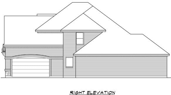Right elevation sketch of the two-story 4-bedroom Broham Canyon traditional home.