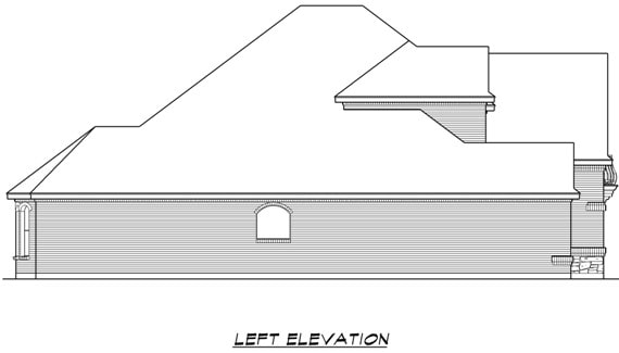 Left elevation sketch of the two-story 4-bedroom Broham Canyon traditional home.