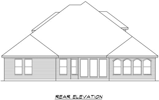 Rear elevation sketch of the two-story 4-bedroom Broham Canyon traditional home.