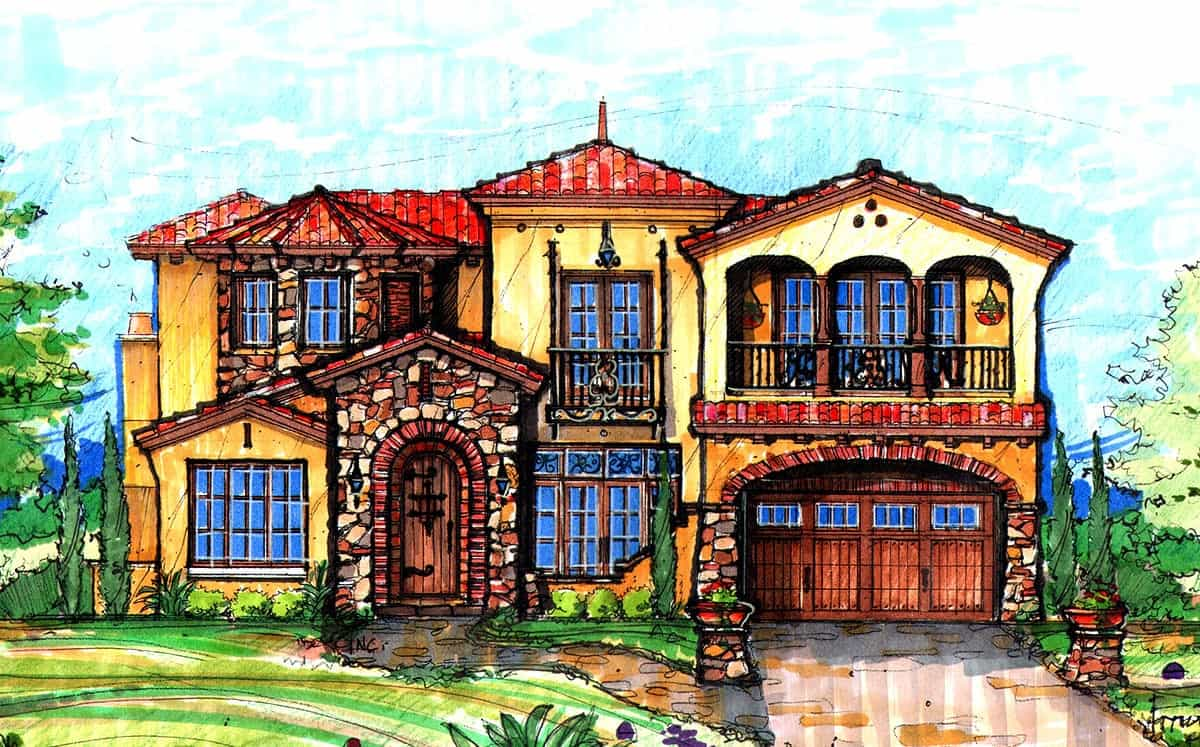 Front perspective sketch of the two-story 4-bedroom Mediterranean home.