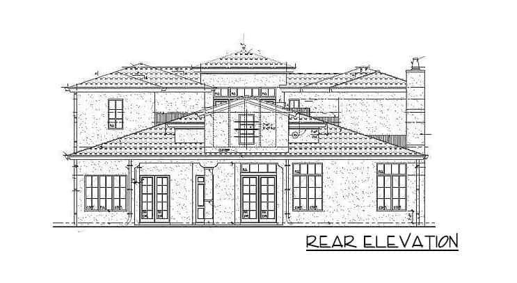 Rear elevation sketch of the two-story 4-bedroom Mediterranean home.
