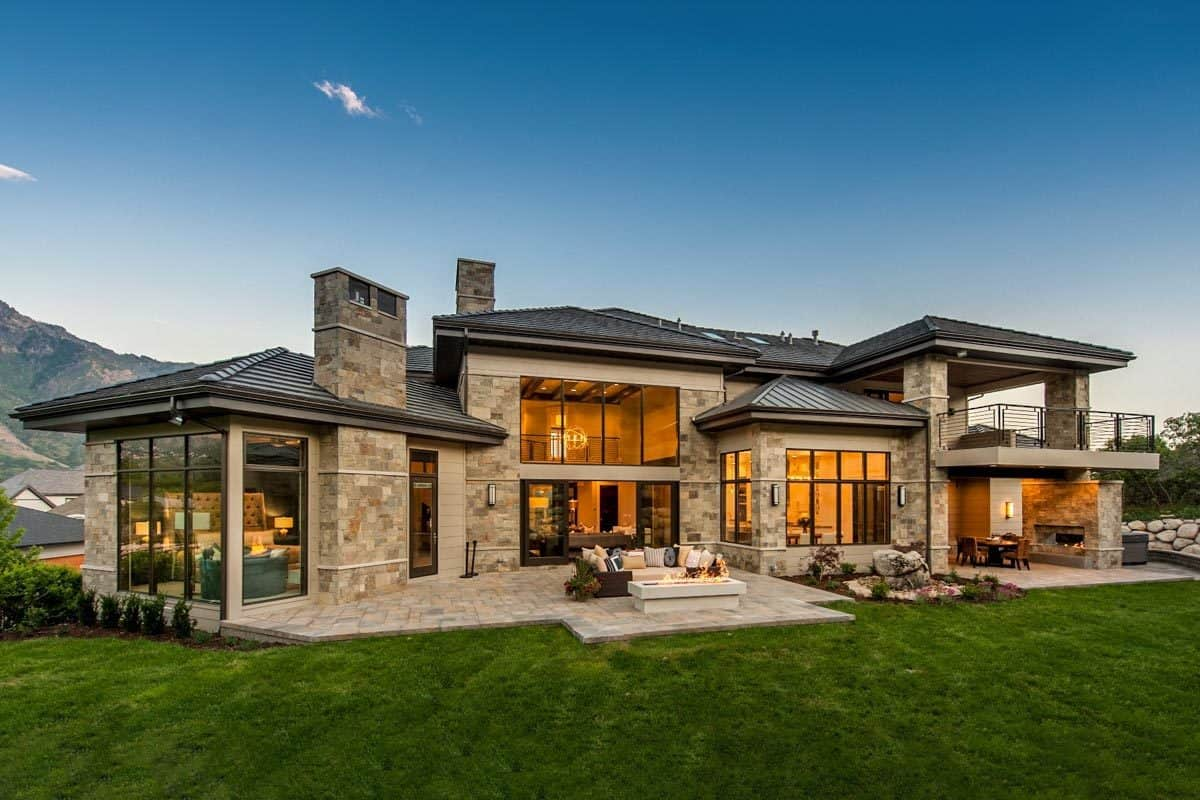 The luscious green lawn complements the outdoor living.