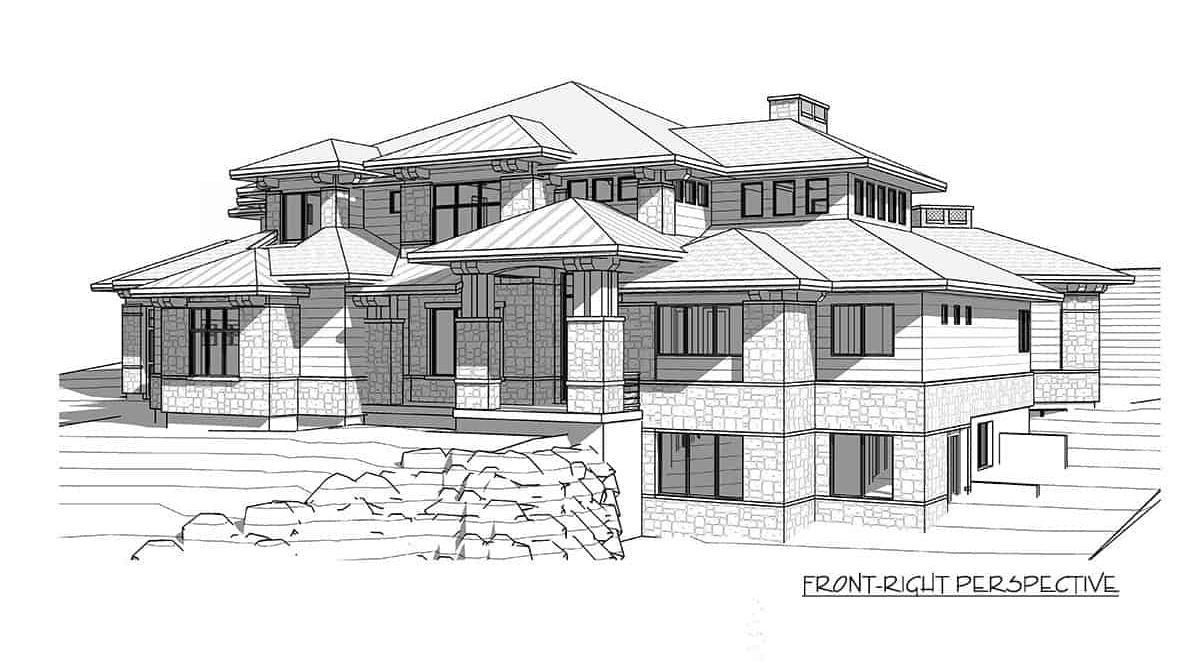 Front-right perspective sketch of the 6-bedroom two-story modern farmhouse.
