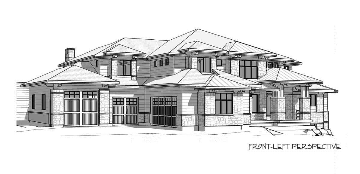 Front-left perspective sketch of the 6-bedroom two-story modern farmhouse.
