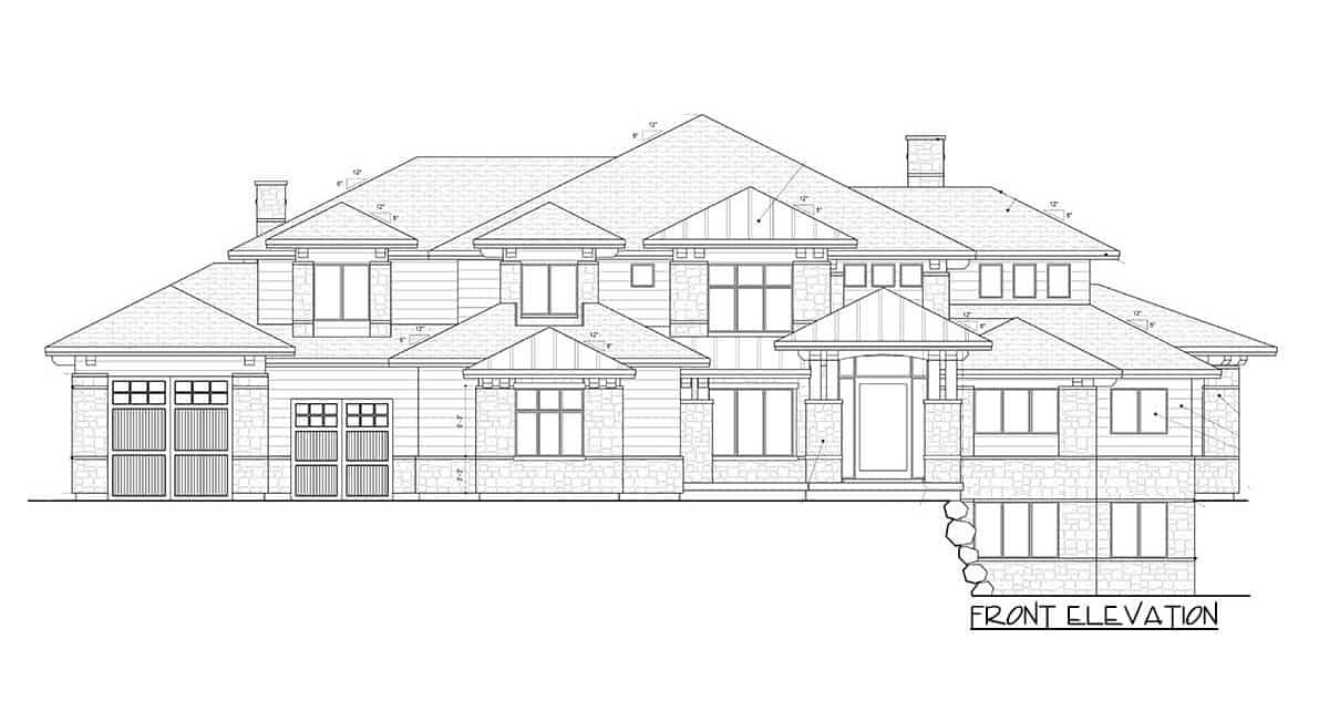 Front elevation sketch of the 6-bedroom two-story modern farmhouse.