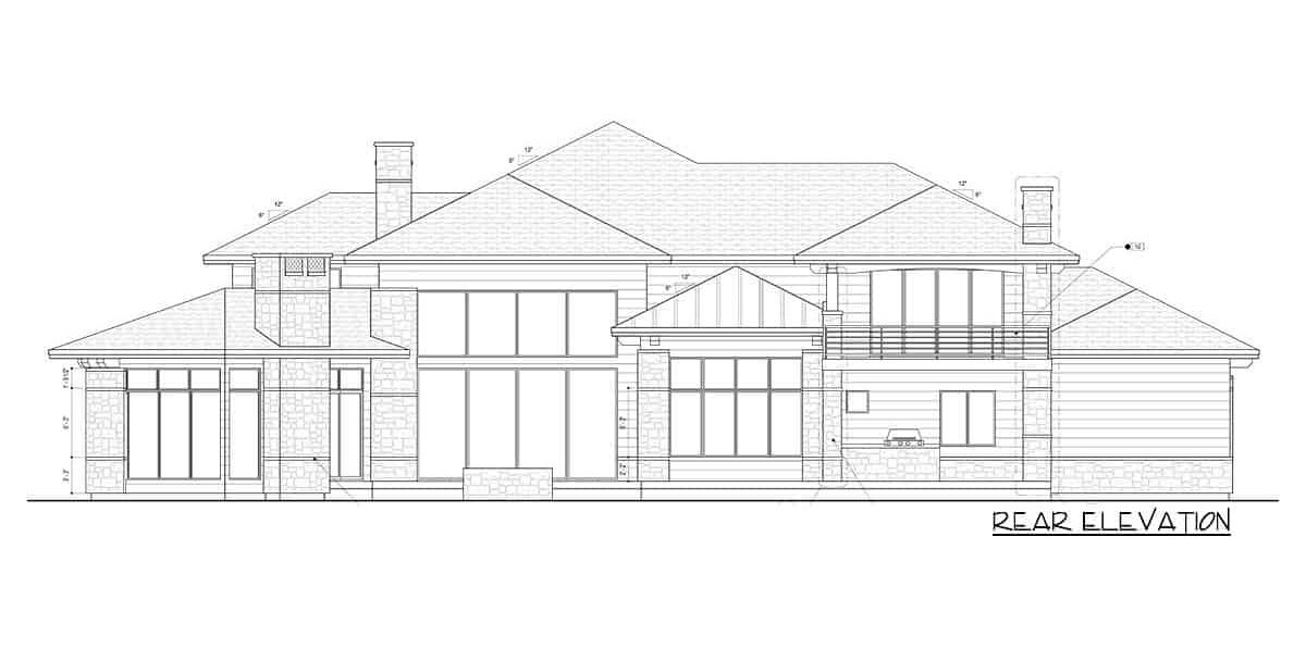 Rear elevation sketch of the 6-bedroom two-story modern farmhouse.