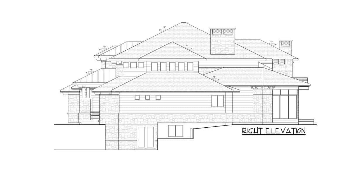 Right elevation sketch of the 6-bedroom two-story modern farmhouse.