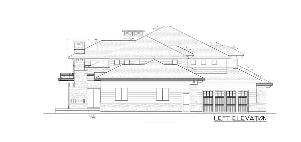 Left elevation sketch of the 6-bedroom two-story modern farmhouse.