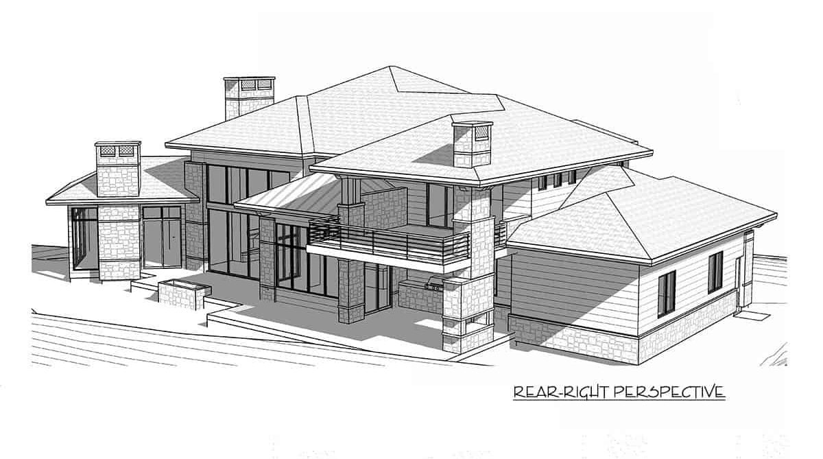 Rear-right perspective sketch of the 6-bedroom two-story modern farmhouse.