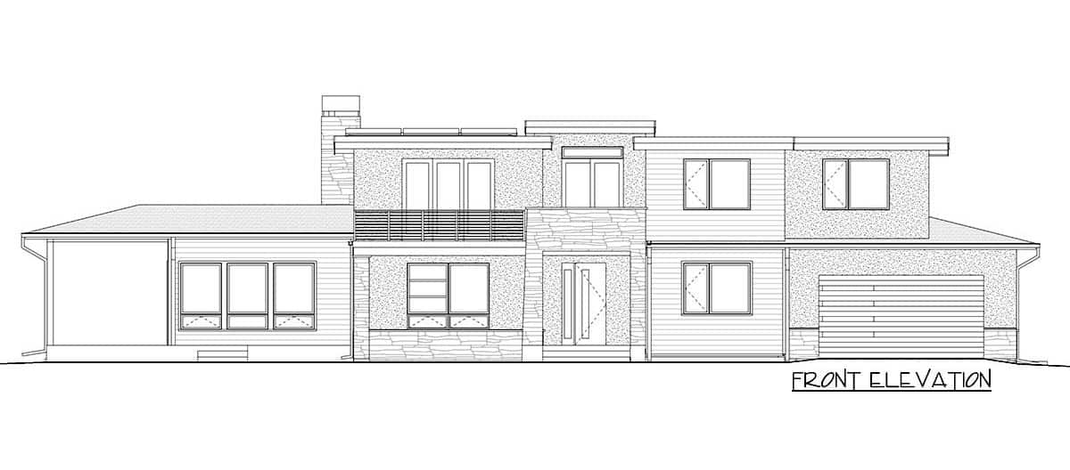 Front elevation sketch of the two-story 4-bedroom modern prairie home.
