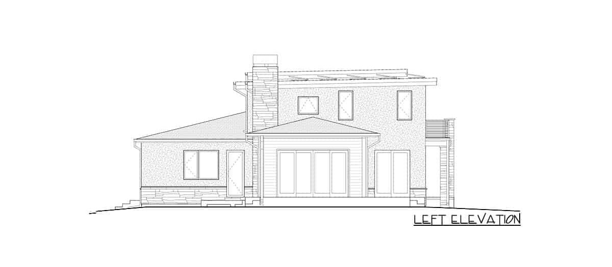 Left elevation sketch of the two-story 4-bedroom modern prairie home.